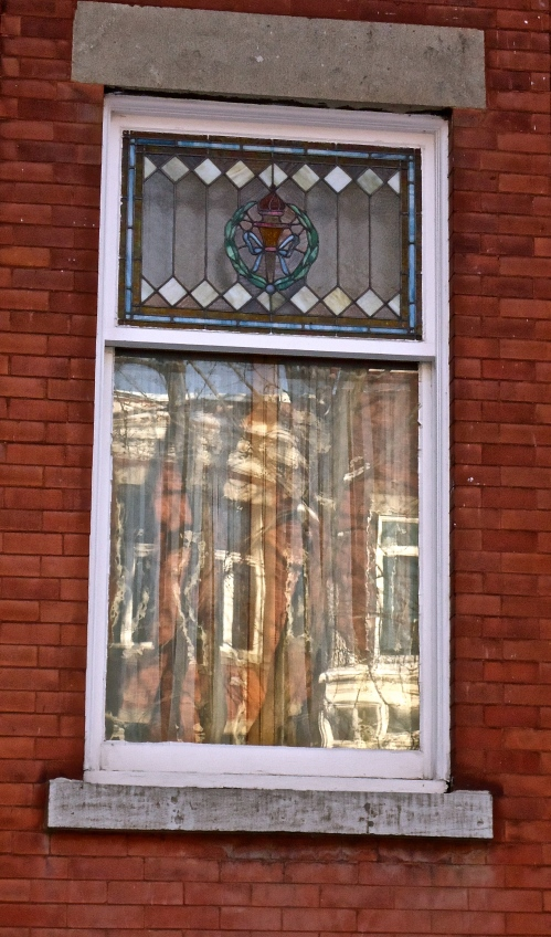Stained Glass Window Reflection in Outremont, Montreal, Quebec